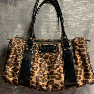 Kate Spade leopard print satchel handbag with black patent leather trim